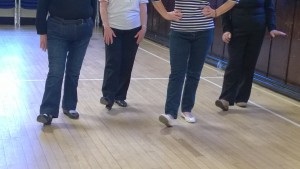 These are the feet of the ladies who attended my first ever line dance class held in Busby Parish Church
